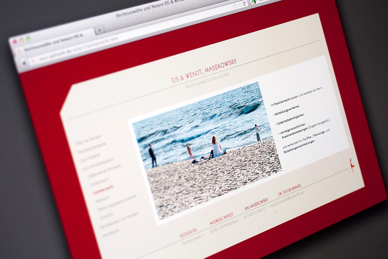 """Eis & Wendt, MasekowskyGestaltung des Internetauftritt, Gruß-, Visitenkarten und Türschild für die Anwalts- und Notarkanzlei """"Eis & Wendt, Masekowsky / Westerland Sylt"""" 2010"""