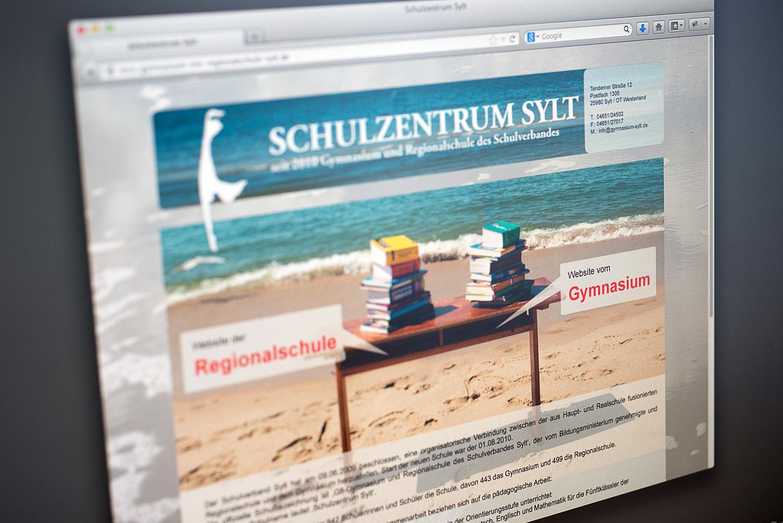 """Gymnasium Sylt Gestaltung und Umsetzung des Internetauftritts für das """"Gymnasium Sylt / Westerland Sylt"""" 2009"""